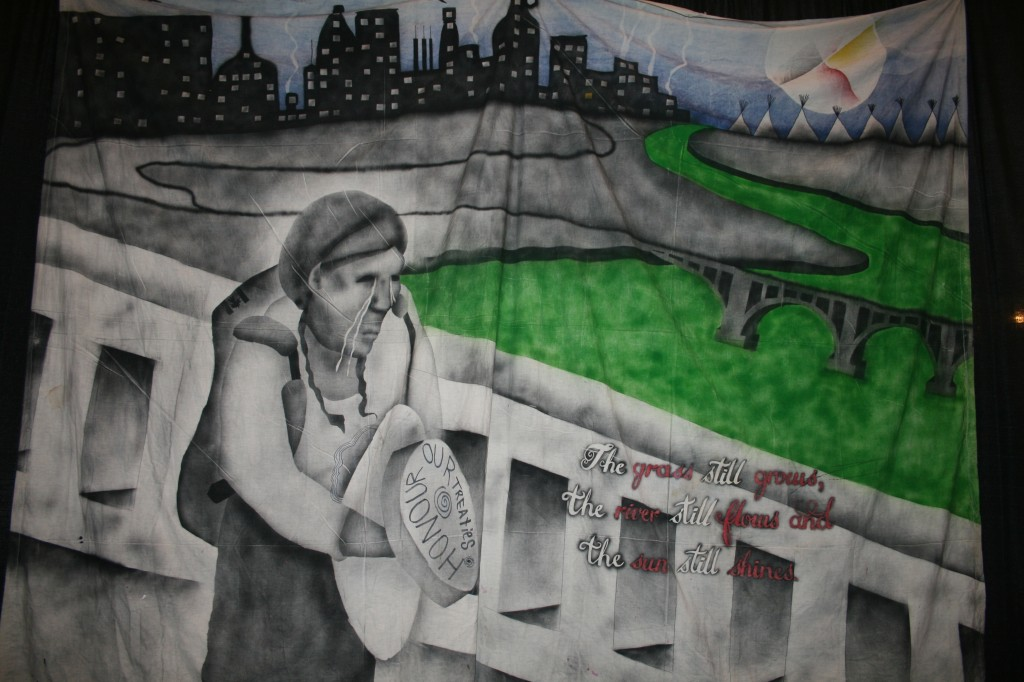 Artwork on truth and reconciliation displayed in Saskatoon at the TRC national event