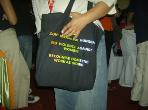 Bag at conference: recognise migrant work as work.