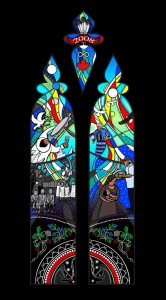Artist's drawing of the stained glass commemorative window.