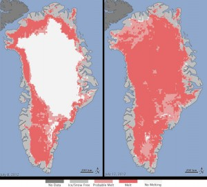 NASA observed rapid thawing on the surface of the Greenland ice sheet in July 2012.