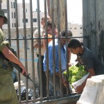 A Palestinian boy passes grapes through the bars at an Israeli checkpoint in the occupied West Bank.