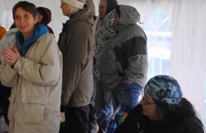 Alma Brooks (right) and Elizabeth Blaney at the Wabanaki Convergence Ceremony.