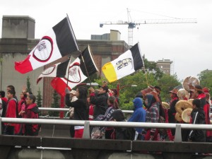 At the Walk for Reconciliation, Vancouver.  Banners and drummers.