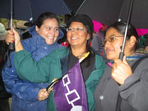 Beverly Jacobs, a friend, and Naty at the Walk for Reconciliation.
