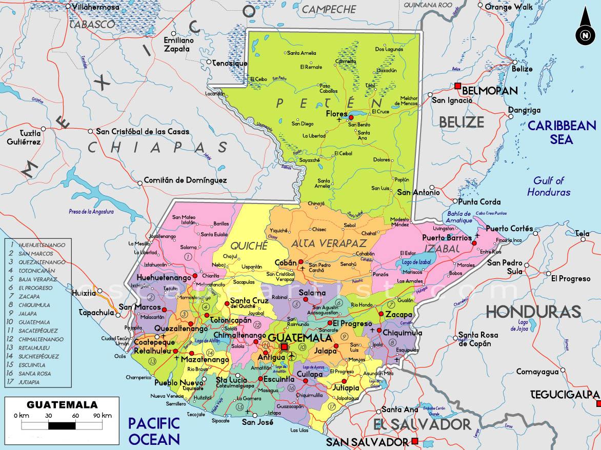 Guatemala Karte.Guatemala Karte Gemeinden