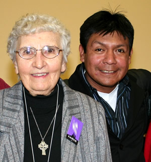 Flaminio Onogama Gutierrez with Sister Angie Martz at the KAIROS Beat the Drum for Indigenous Rights event in St John, New Brunswick, Dec 5 2010.