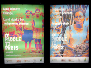 Posters supporting Indigenous rights seen in the subway of Paris.
