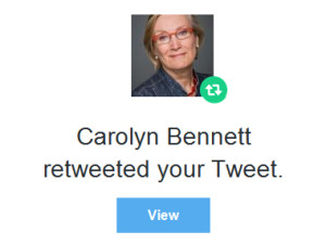 Carolyn Bennett retweeted your tweet