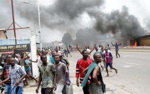Street protests in Kinshasa in September 2016.