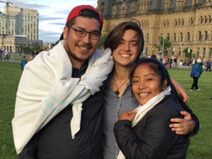 Emilio Hannah and Lilian on Parliament Hill, Kitchi Blanket Exercise, June 2017