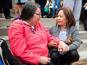 Alma and Connie at Kitchi Blanket Exercise in 2017