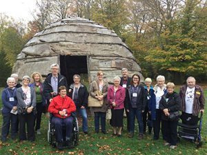 Outside the Iroquoian long-house at the Museum of Ontario Archaeology on October 14