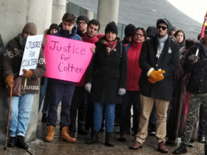 "Protest in front of city hall, Toronto ""Justice for Colten Boushie"""
