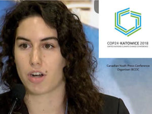 Jessica Steeles at COP24 Youth Press Conference