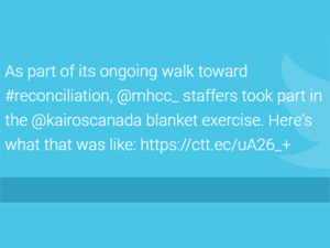 @mhcc staffers takepart in the @kairoscanada blanket exercise.