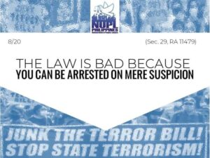 junk the terror bill in the Philippines, stop state terrorism!