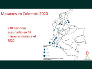 Map of Colombia indicating where 57 massacres happened since January 1, 2020.