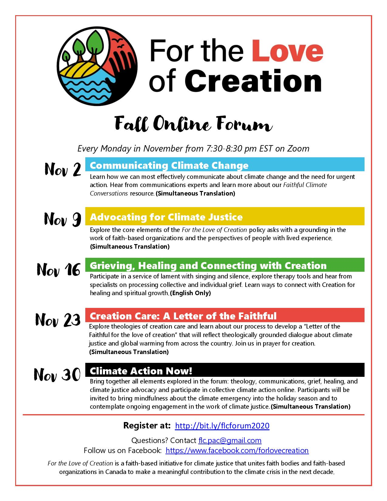 poster for fall forum on climate change