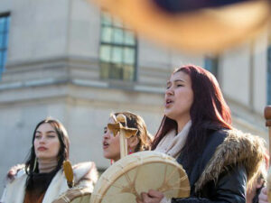 Indigenous women, pictured Feb. 24, 2020, leading a protest in Ottawa in support of the Wet'suwet'en nation and against the building of the Coastal Gasoline pipeline through their traditional territory. The Hill Times photograph by Andrew Meade
