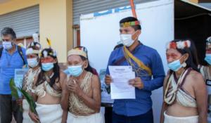 Members of the Waorani Indigenous community of Miwaguno in Ecuador at the filing of the lawsuit on December 10, 2020.