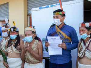 Members of the Waorani Indigenous community of Miwaguno in Ecuador at the filing of the lawsuit on December 10, 2020.