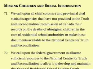 Missing children and burial information, TRC Calls to Action #71 to #76
