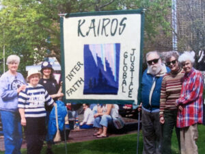 KAIROS group in Vancouver, in 2002, carrying a newly created KAIROS banner.