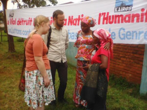 A survivor of sexual violence testifies of her ordeal to Ian and Kirsten in the presence of Néné Lubala in Bideka in 2016.