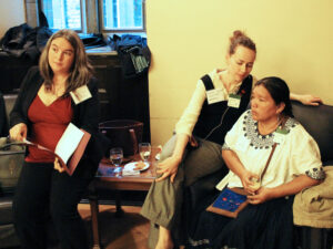 CNCA event at the Parliament building, Ottawa, 2013. Emily Dwyer is on the left and Angelica Choc is on the right.