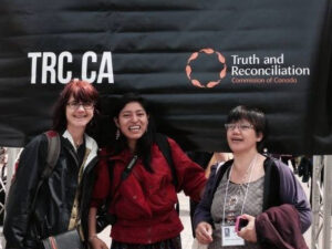 Left to right: Rachel Warden, Anny Matriz from Guatemala and Vernie Diano from the Philippines at TRC final gathering, 2014.